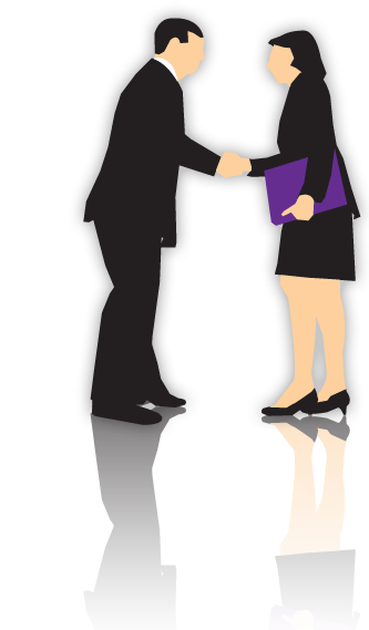 Silhouette of man and woman in business suits shaking hands.